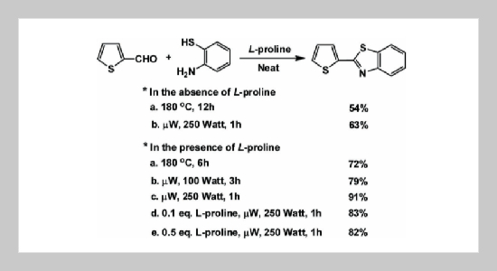 L-Proline Catalyzed Condensation Reaction of Aldehyde or Carboxylic Acid with 2-Aminothiophenol under Solvent-Free and Microwave Irradiation